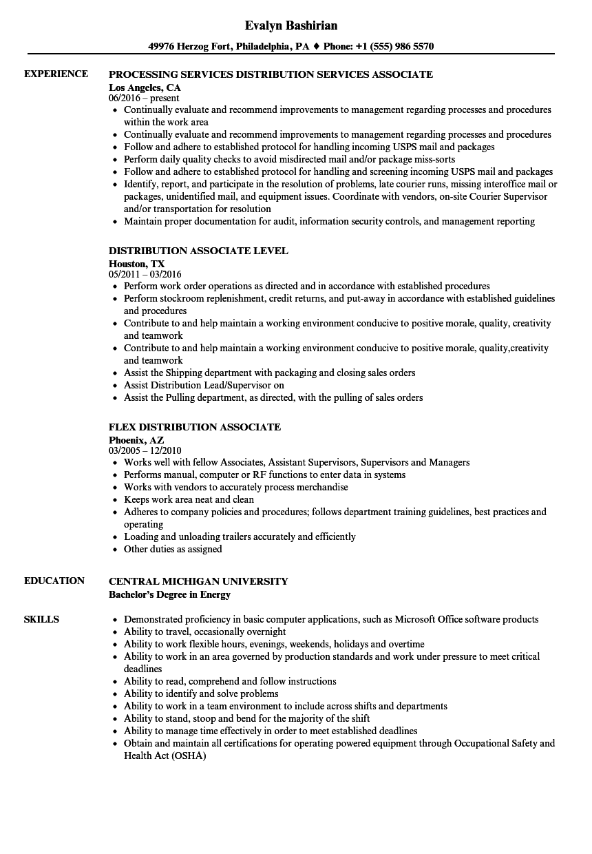 Associate Distribution Resume Samples | Velvet Jobs