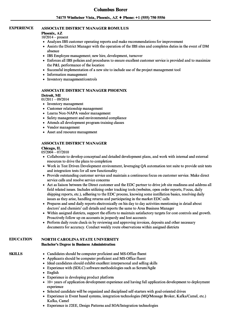 Download Associate District Manager Resume Sample As Image File  District Manager Resume