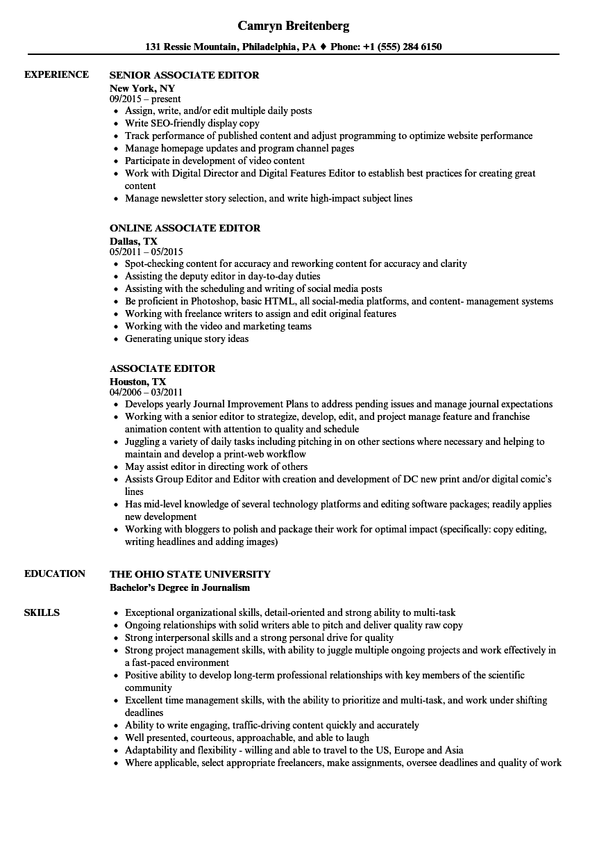 Associate Editor Resume Samples | Velvet Jobs
