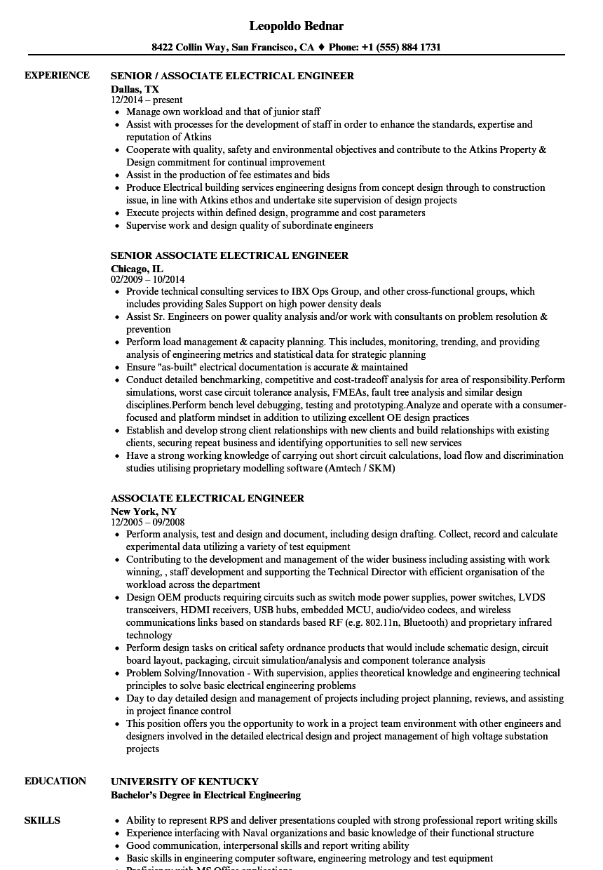 Associate Electrical Engineer Resume Samples | Velvet Jobs