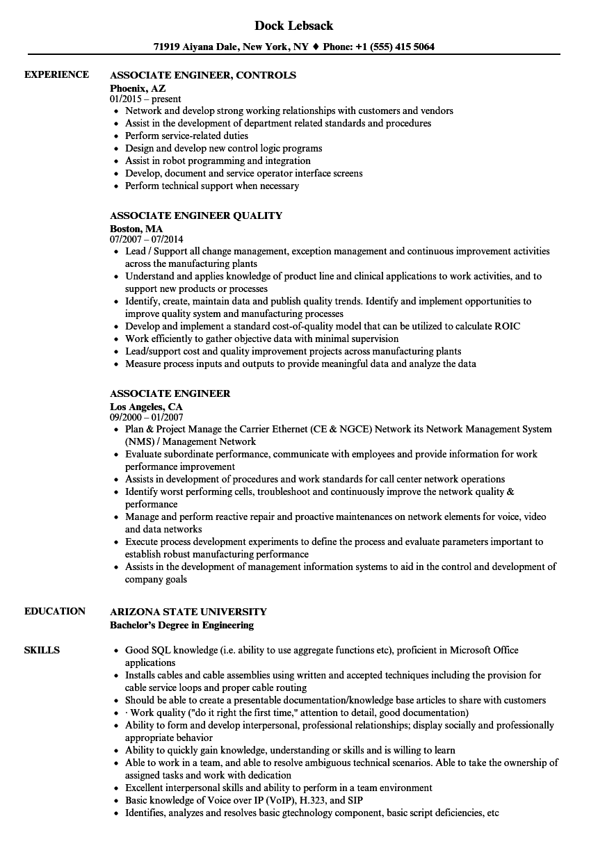 Associate Engineer Resume Samples | Velvet Jobs