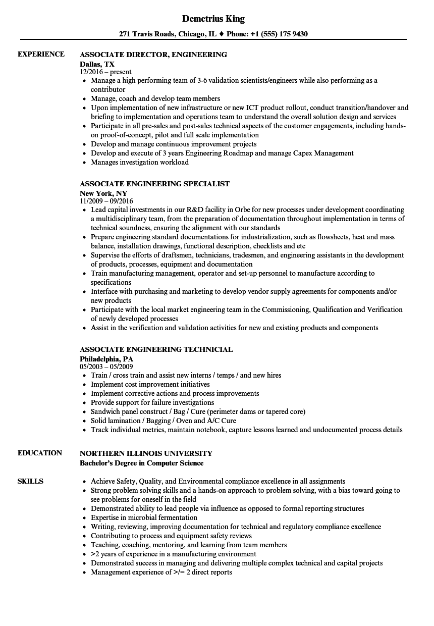 Associate Engineering Resume Samples | Velvet Jobs