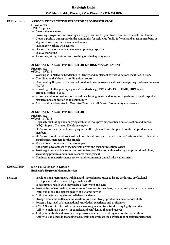 associate executive director resume samples velvet jobs