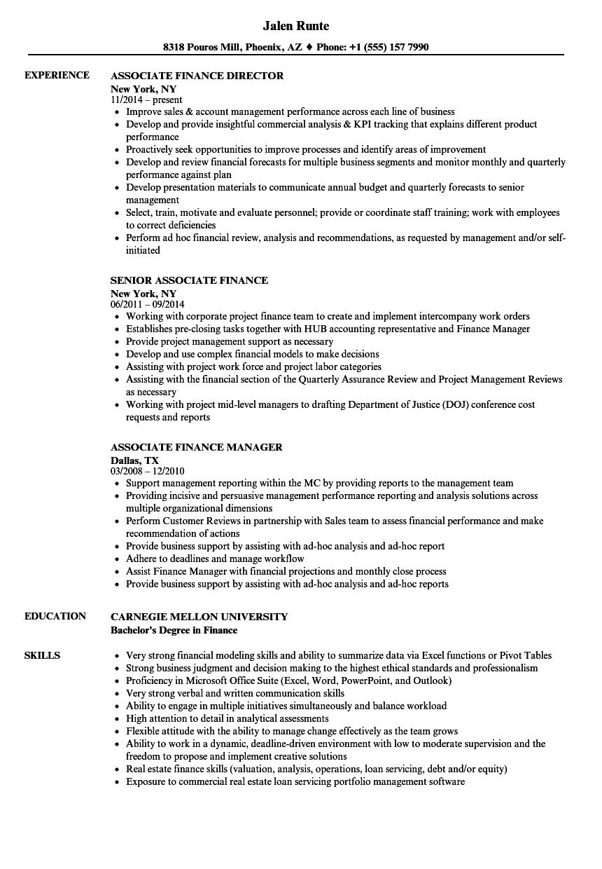 Associate, Finance Resume Samples | Velvet Jobs