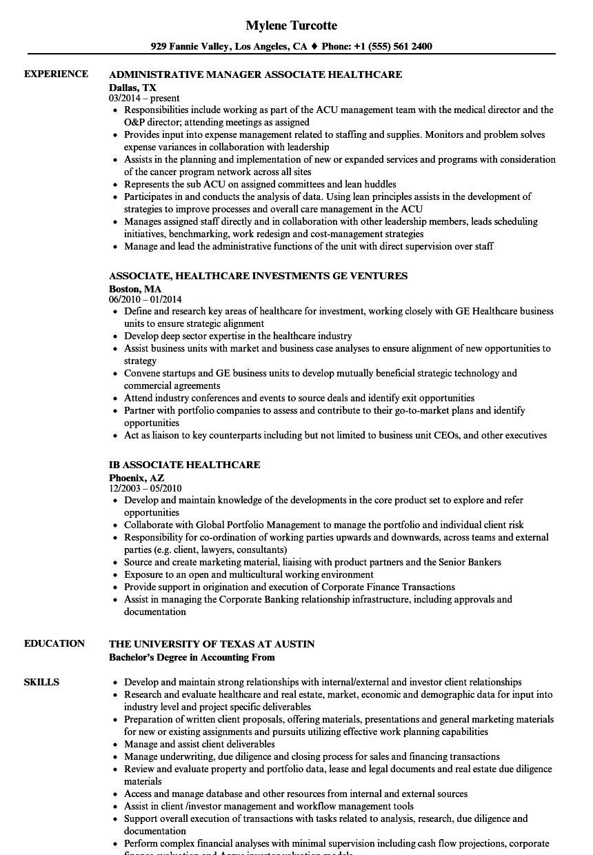 Download Associate, Healthcare Resume Sample As Image File