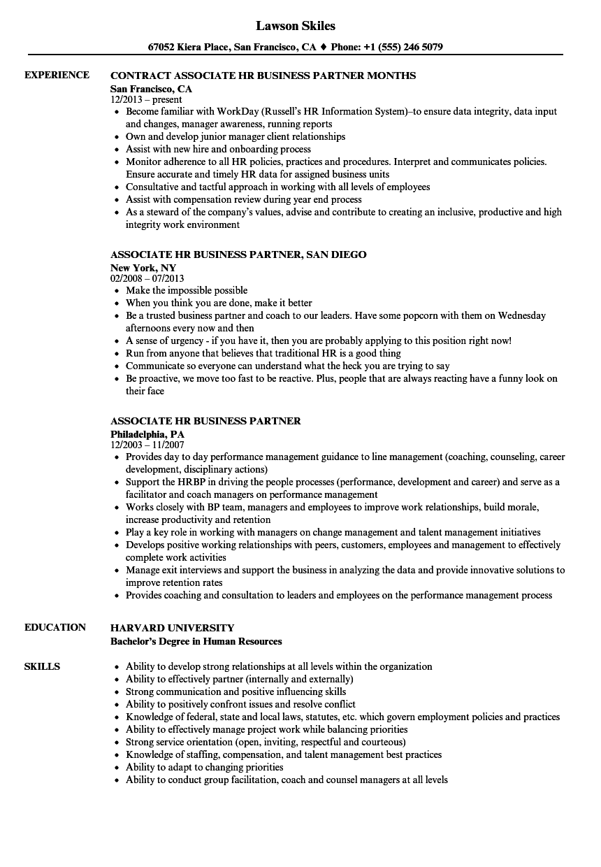 Associate HR Business Partner Resume Samples Velvet Jobs