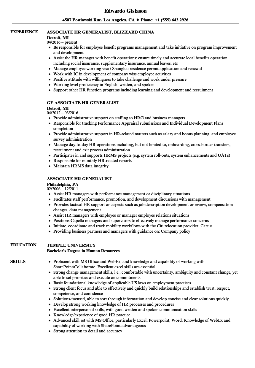associate hr generalist resume samples