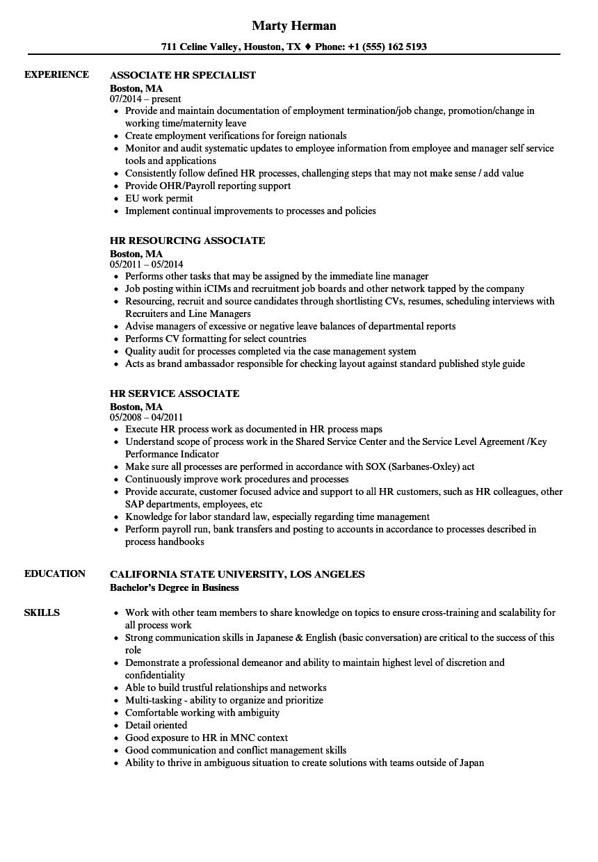 associate hr resume samples  velvet jobs