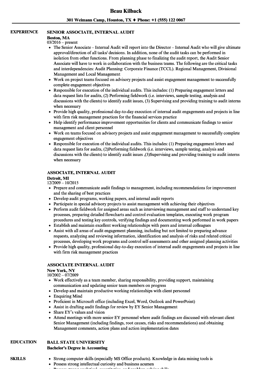 Associate, Internal Audit Resume Samples | Velvet Jobs