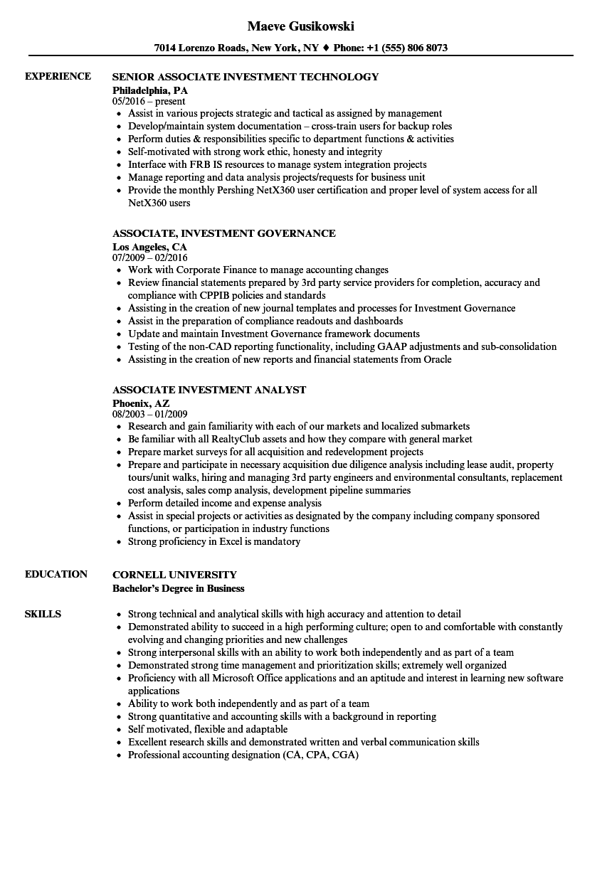 Download Associate Investment Resume Sample As Image File