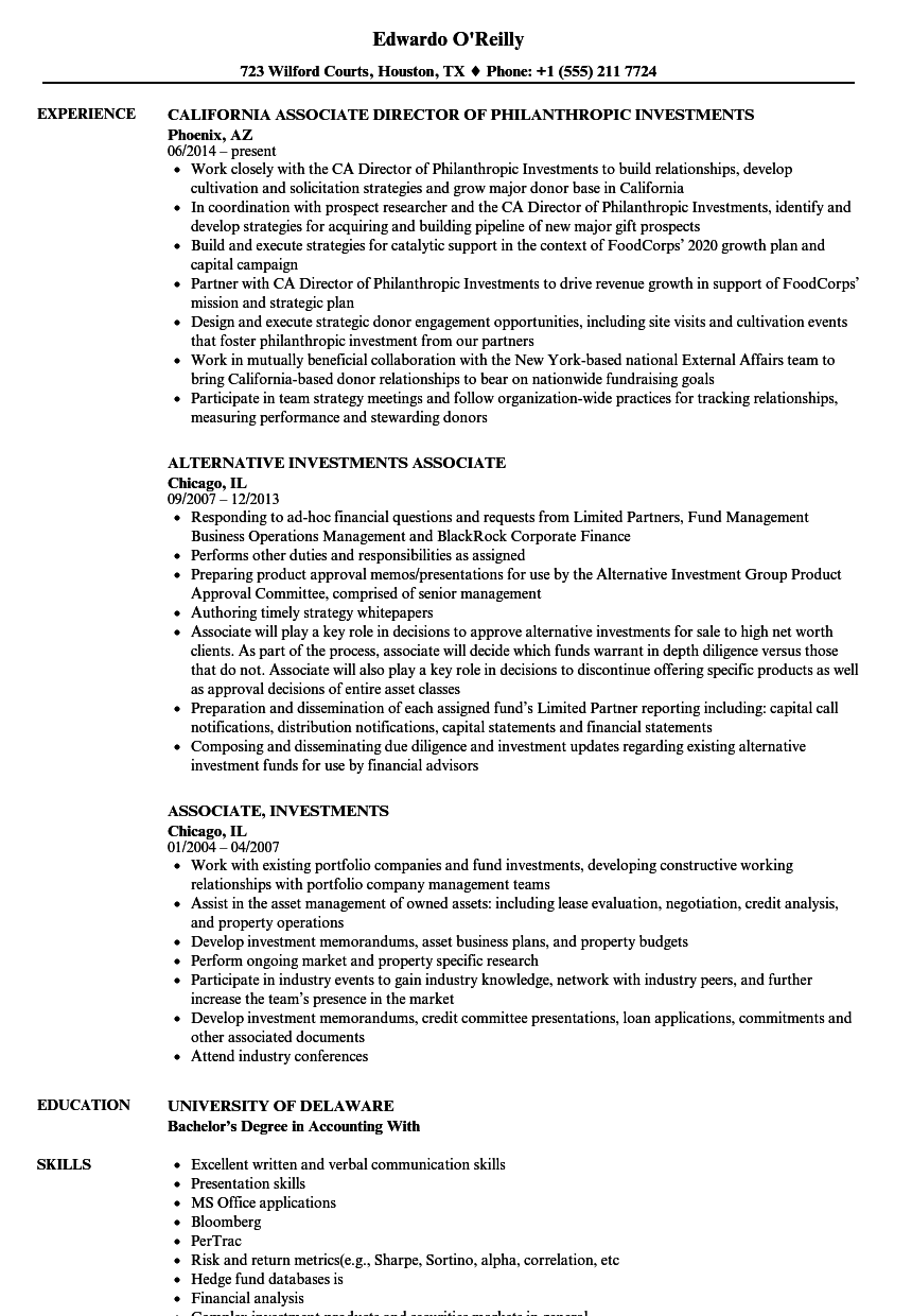 associate  investments resume samples