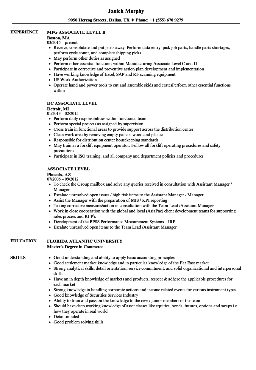 download associate level resume sample as image file - Production Associate Sample Resume