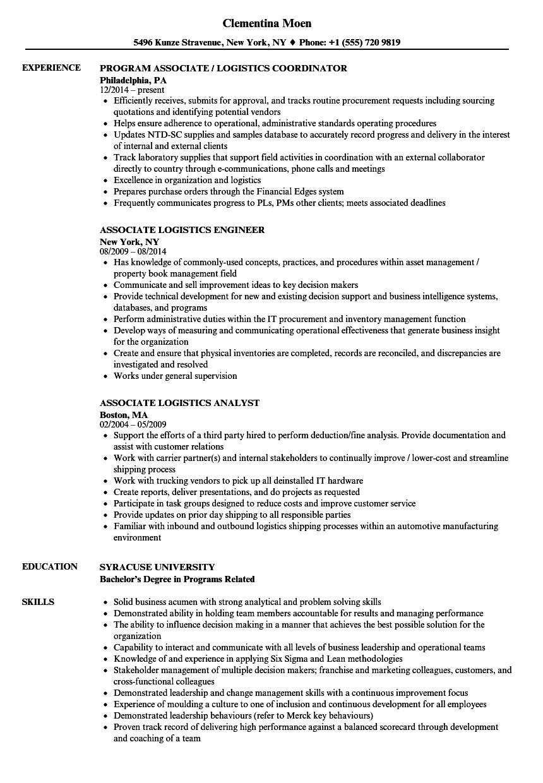 associate logistics resume samples