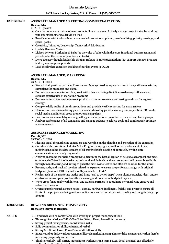 Associate Manager, Marketing Resume Samples | Velvet Jobs