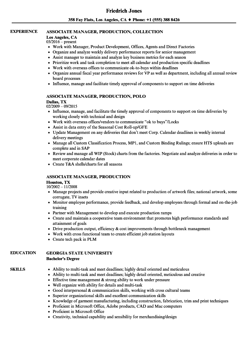 download associate manager production resume sample as image file - Sample Production Resume