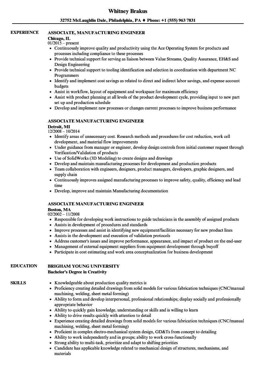 associate manufacturing engineer resume samples