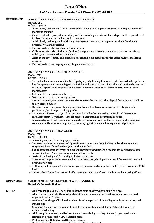 Associate Market Manager Resume Samples   Velvet Jobs