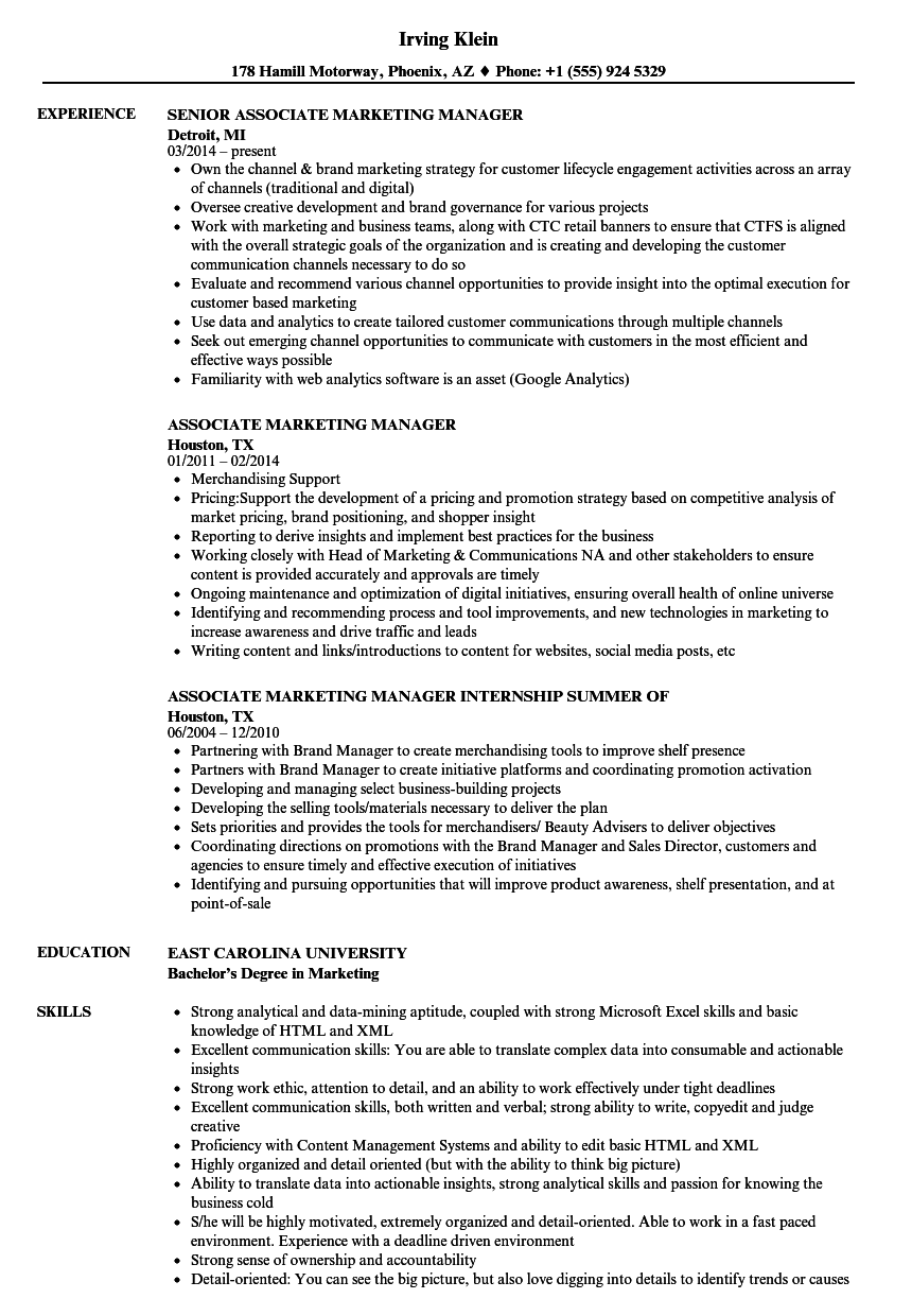 associate marketing manager resume samples