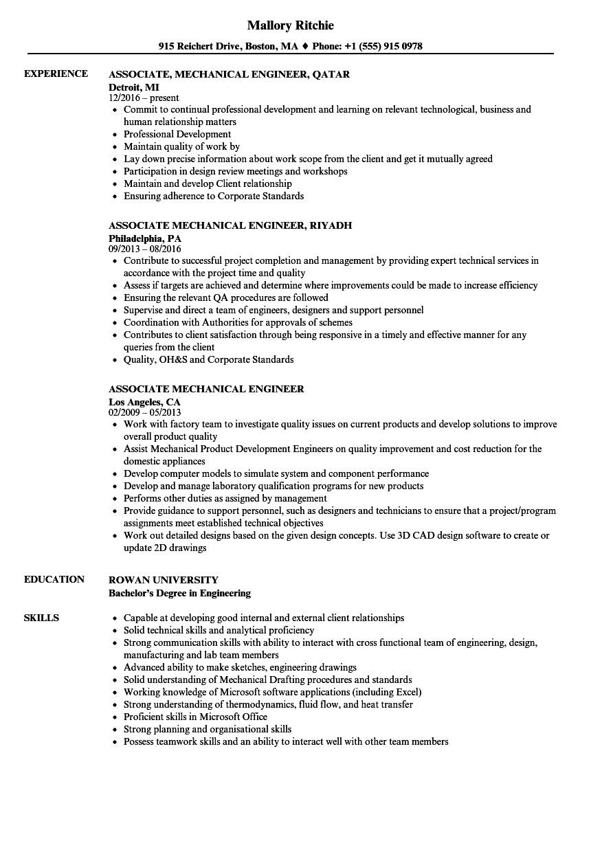 associate mechanical engineer resume samples