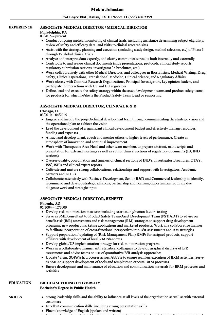Download Associate Medical Director Resume Sample As Image File