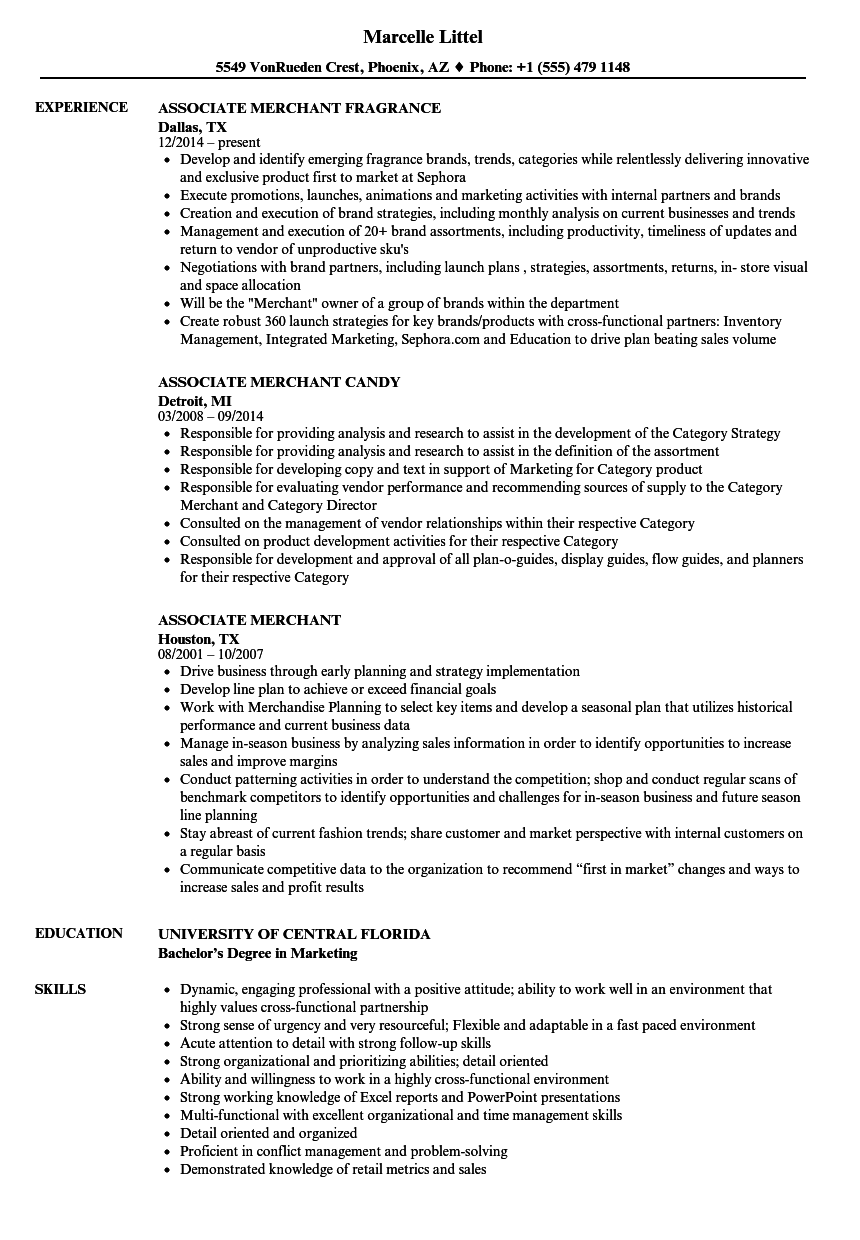 associate merchant resume samples