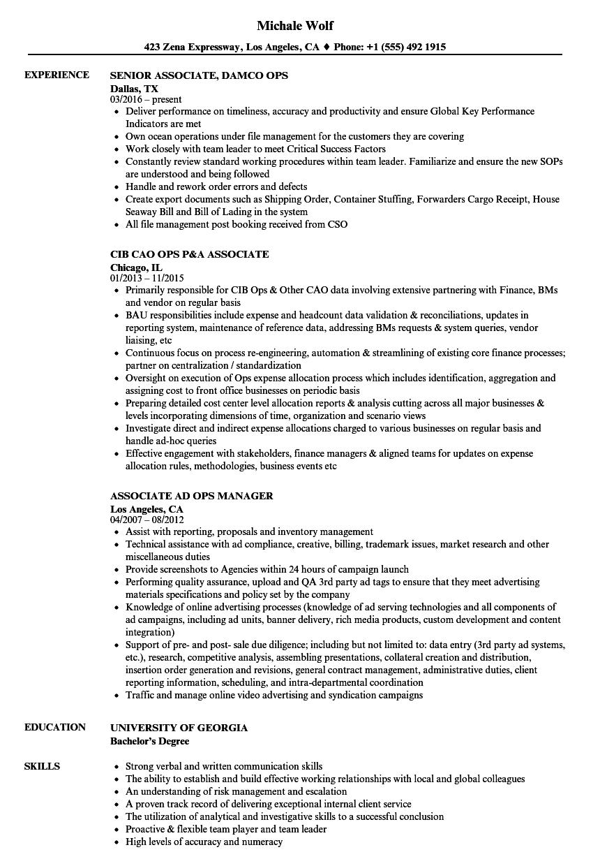associate ops resume samples
