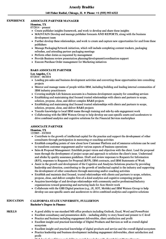 associate partner resume samples
