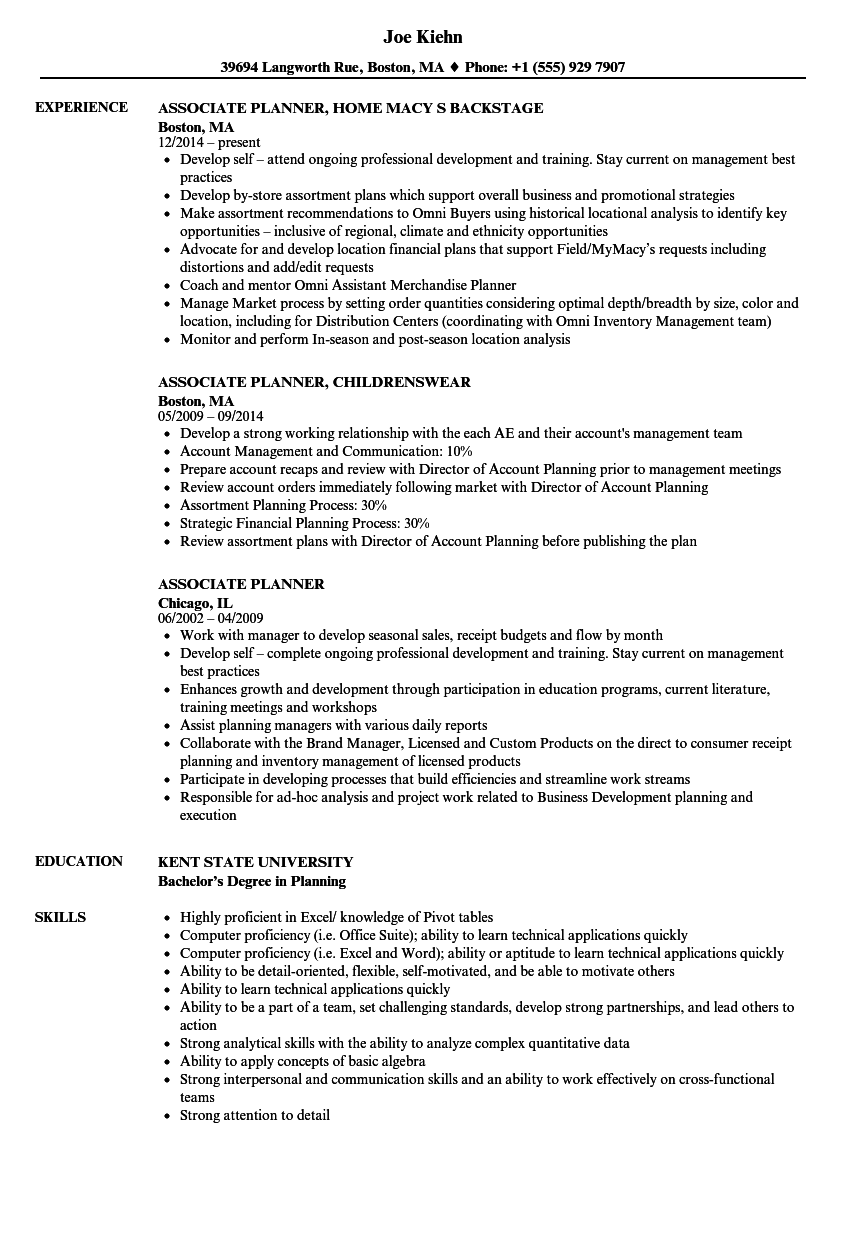 Associate Planner Resume Samples | Velvet Jobs