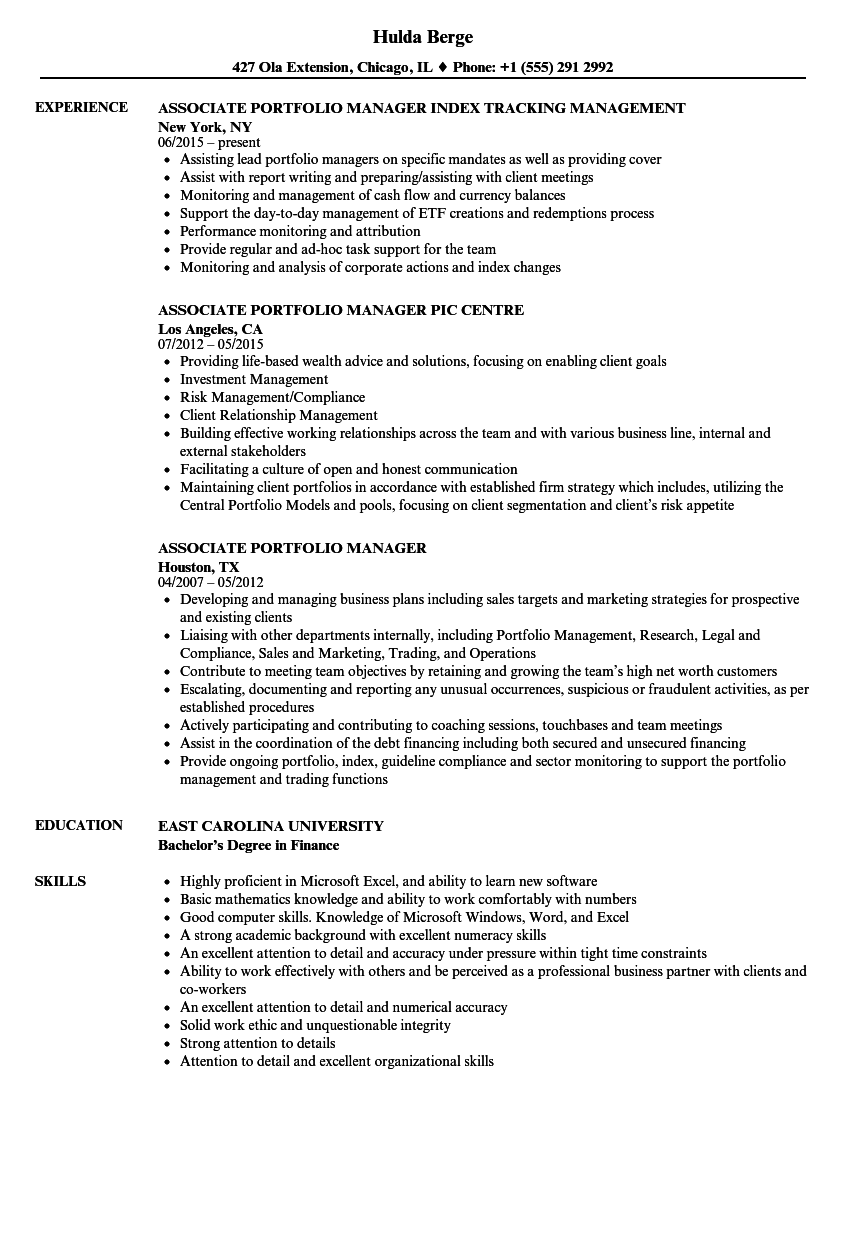 associate portfolio manager resume samples