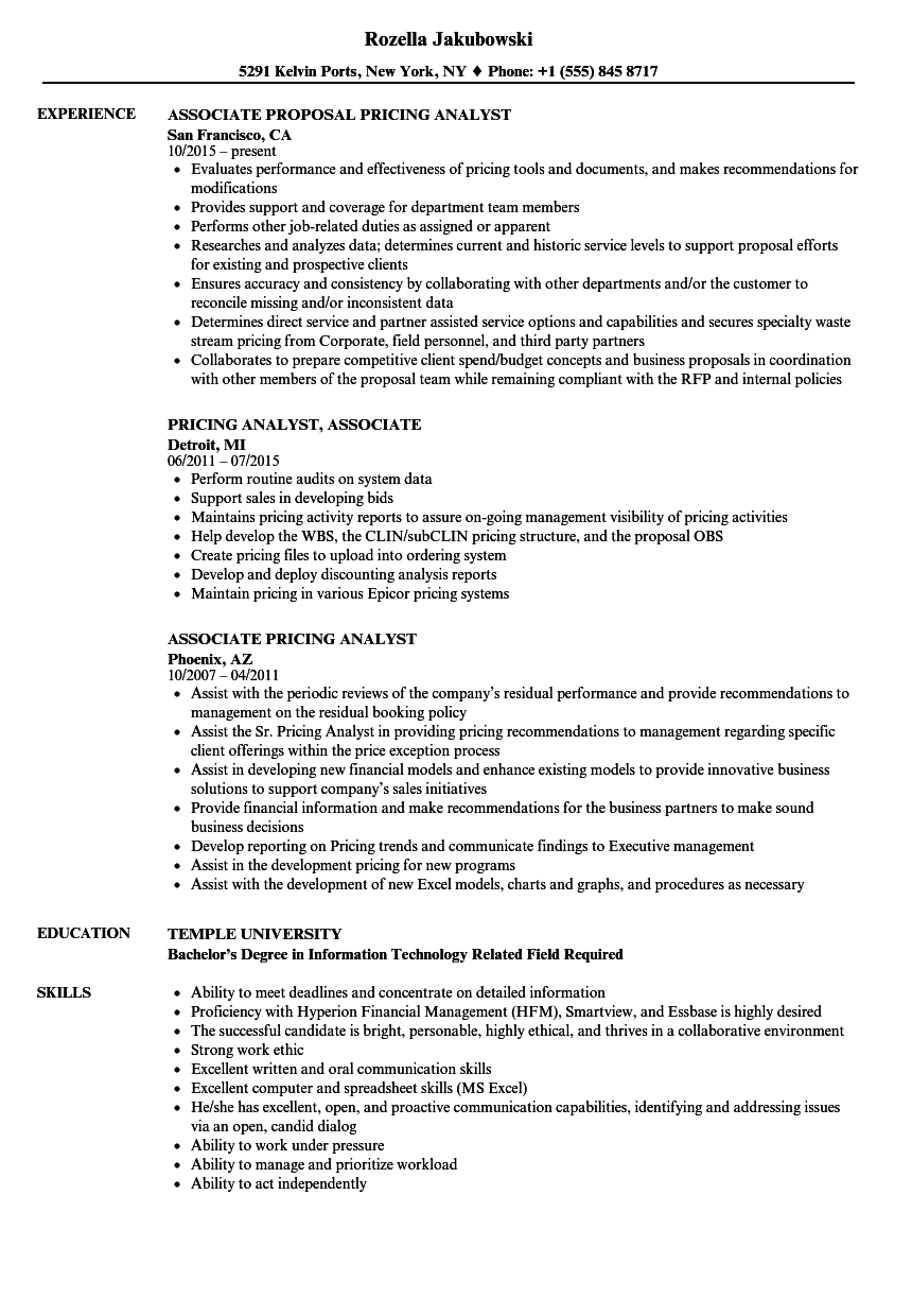 associate pricing analyst resume samples