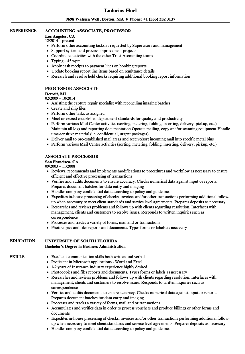 Associate Processor Resume Samples Velvet Jobs