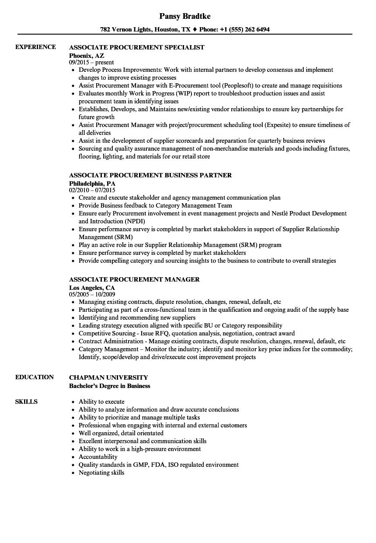 Download Associate Procurement Resume Sample As Image File  Procurement Resume