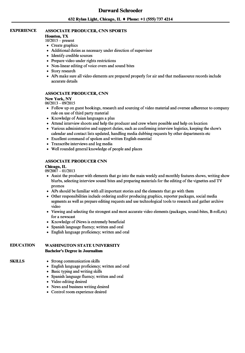 associate producer  cnn resume samples