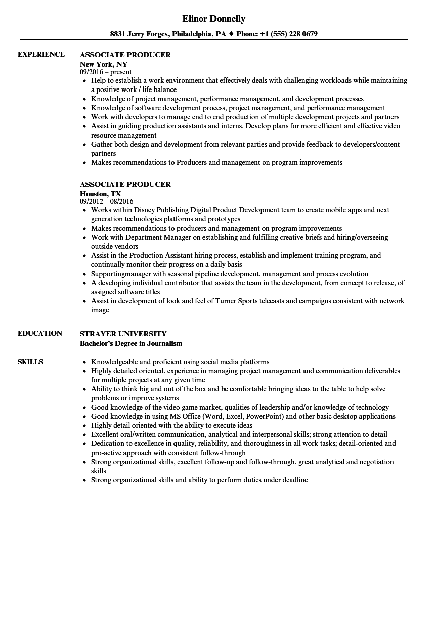Charming Download Associate Producer Resume Sample As Image File
