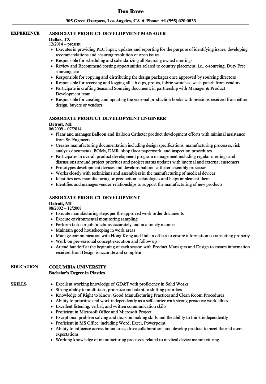 associate product development resume samples