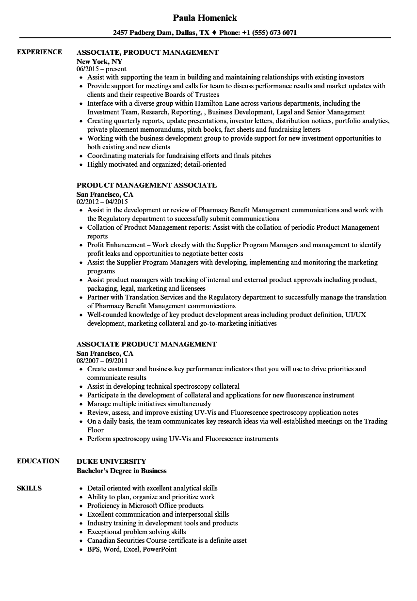 associate  product management resume samples