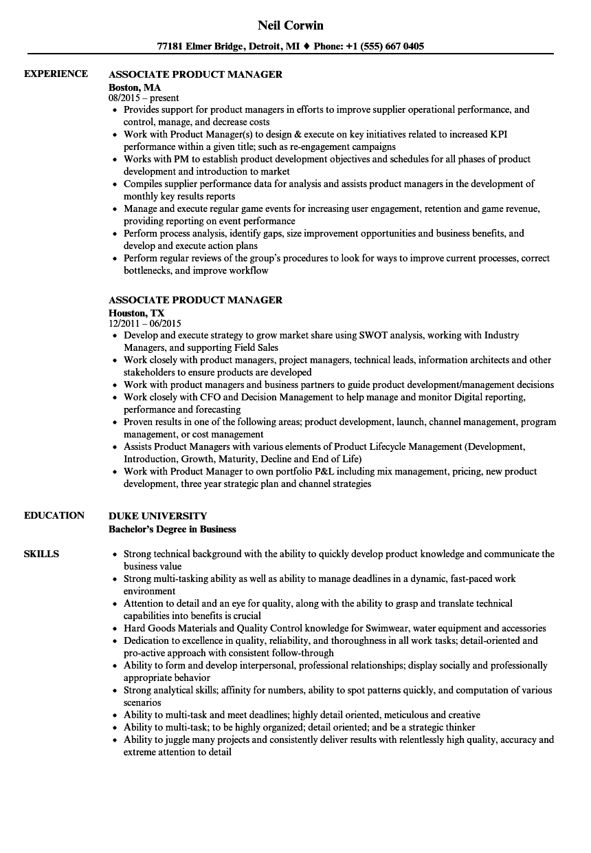 Associate Product Manager Resume Samples Velvet Jobs