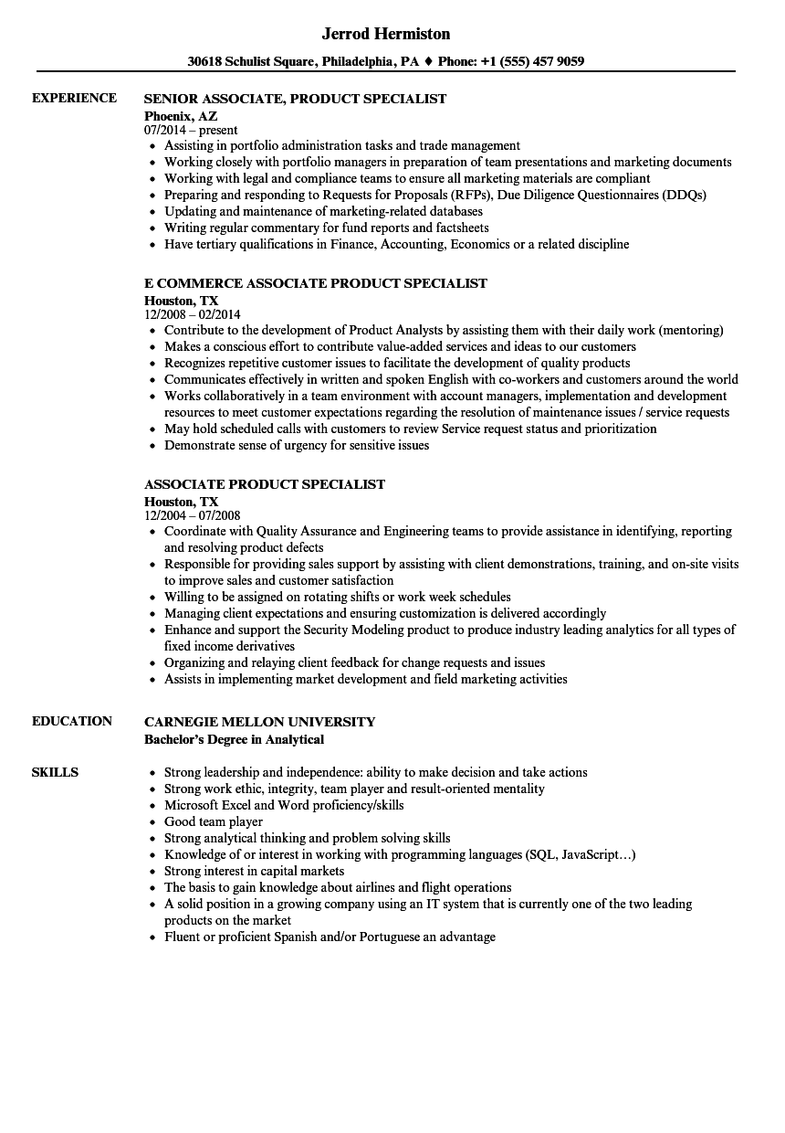 Associate Product Specialist Resume Samples Velvet Jobs