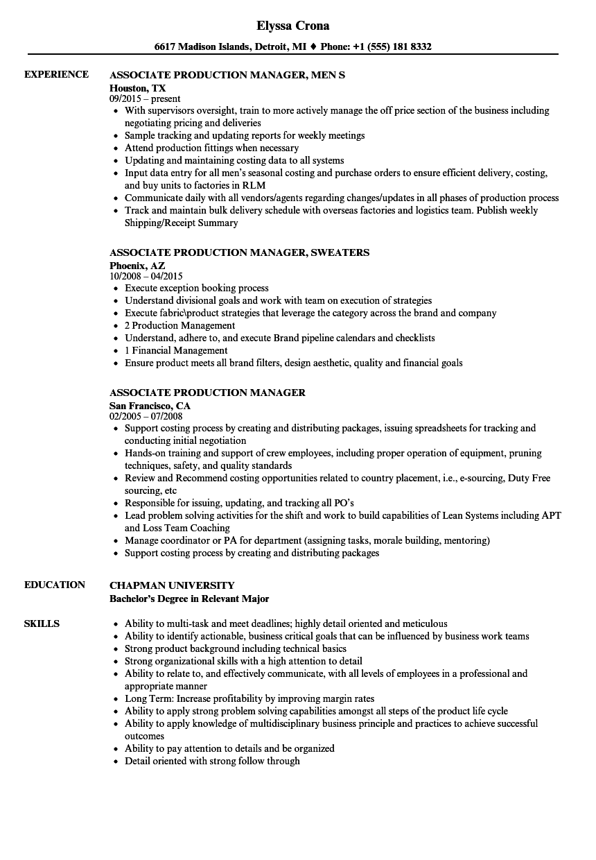 Download Associate Production Manager Resume Sample As Image File
