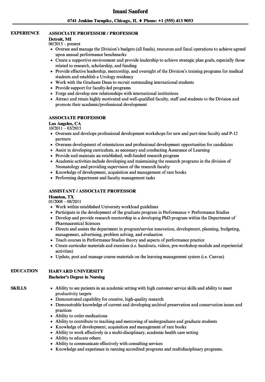 Associate Professor Resume Samples Velvet Jobs