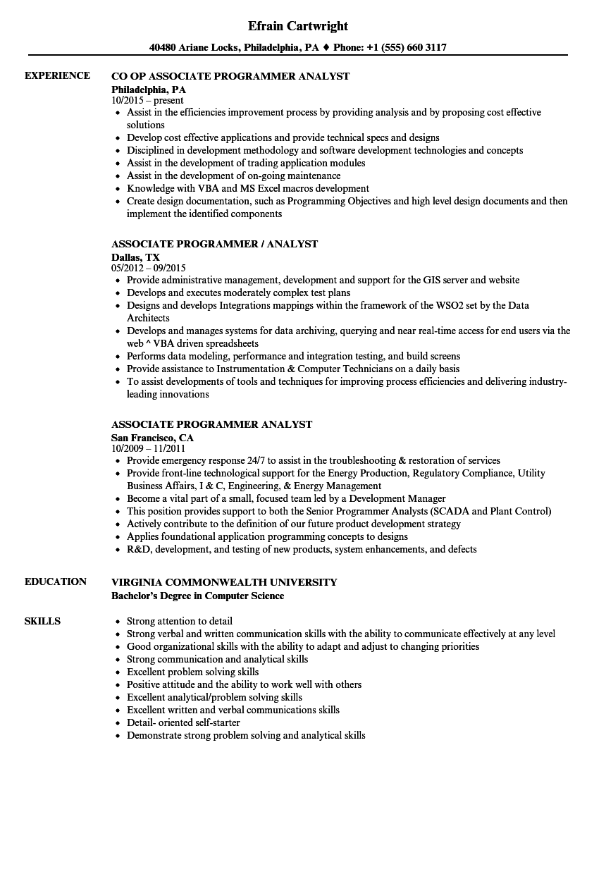 download associate programmer analyst resume sample as image file - Problem Solving Skills Resume