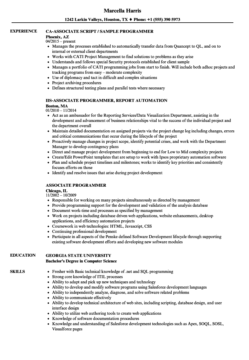 Associate Programmer Resume Samples Velvet Jobs