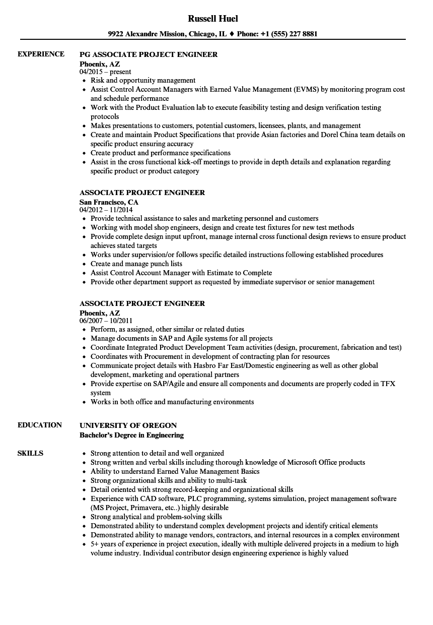 Associate Project Engineer Resume Samples Velvet Jobs
