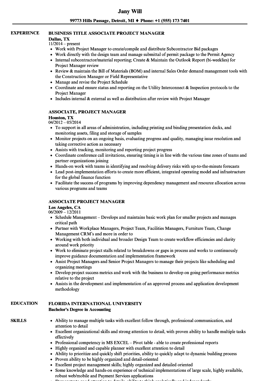 Associate Project Manager Resume Samples | Velvet Jobs