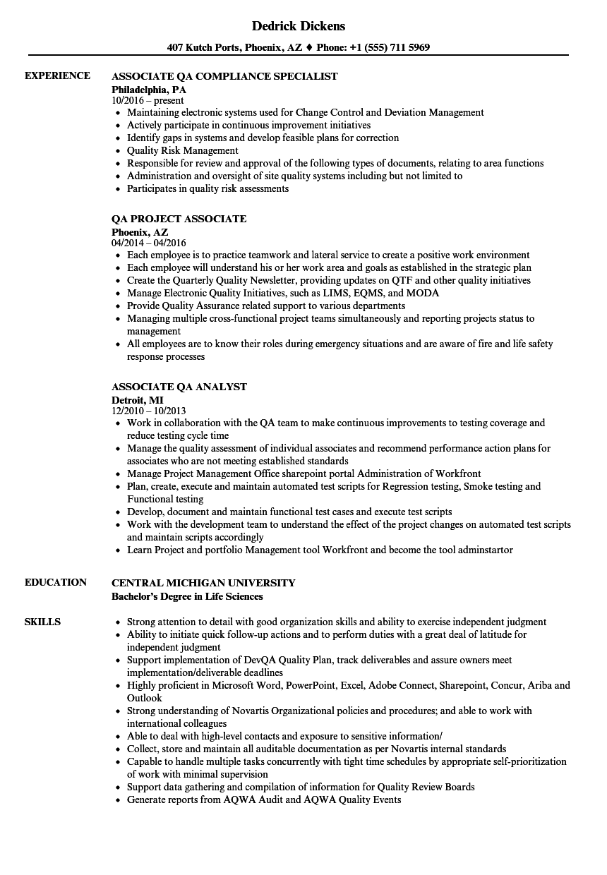 associate  qa resume samples