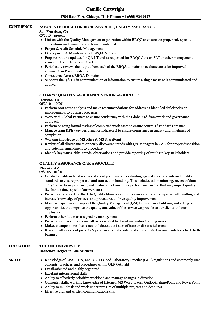 Download Associate Quality Assurance Associate Resume Sample As Image File