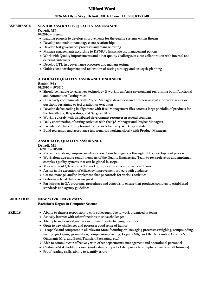Download Associate, Quality Assurance Resume Sample As Image File