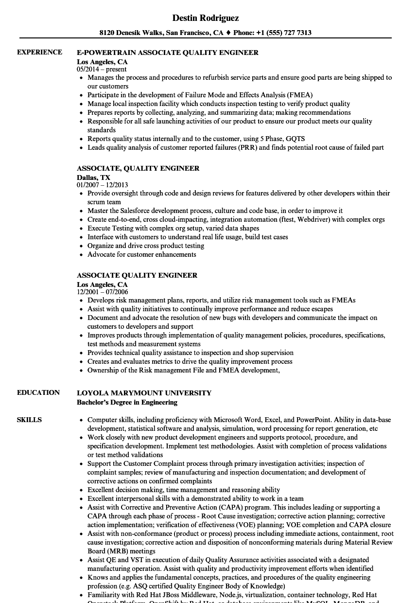 Associate Quality Engineer Resume Samples | Velvet Jobs