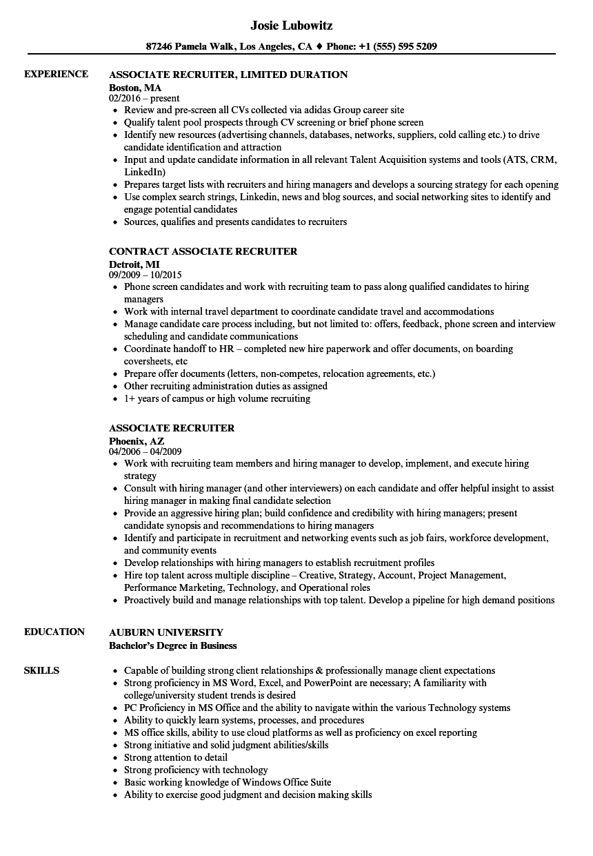 associate recruiter resume samples