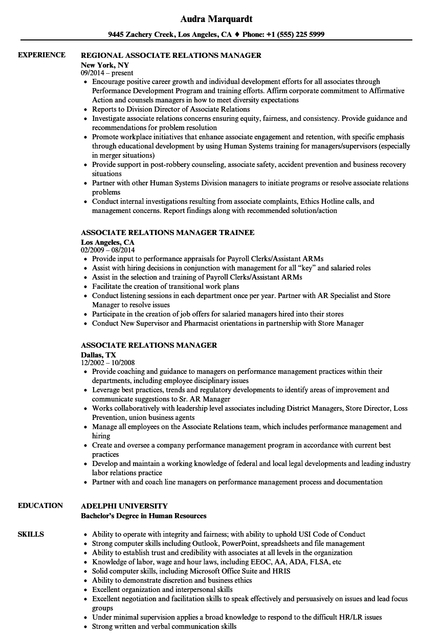 Associate Relations Manager Resume Samples | Velvet Jobs